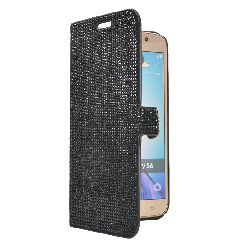 coque clapet pour samsung galaxy s6 strass noir samsung galaxy s6 the kase. Black Bedroom Furniture Sets. Home Design Ideas